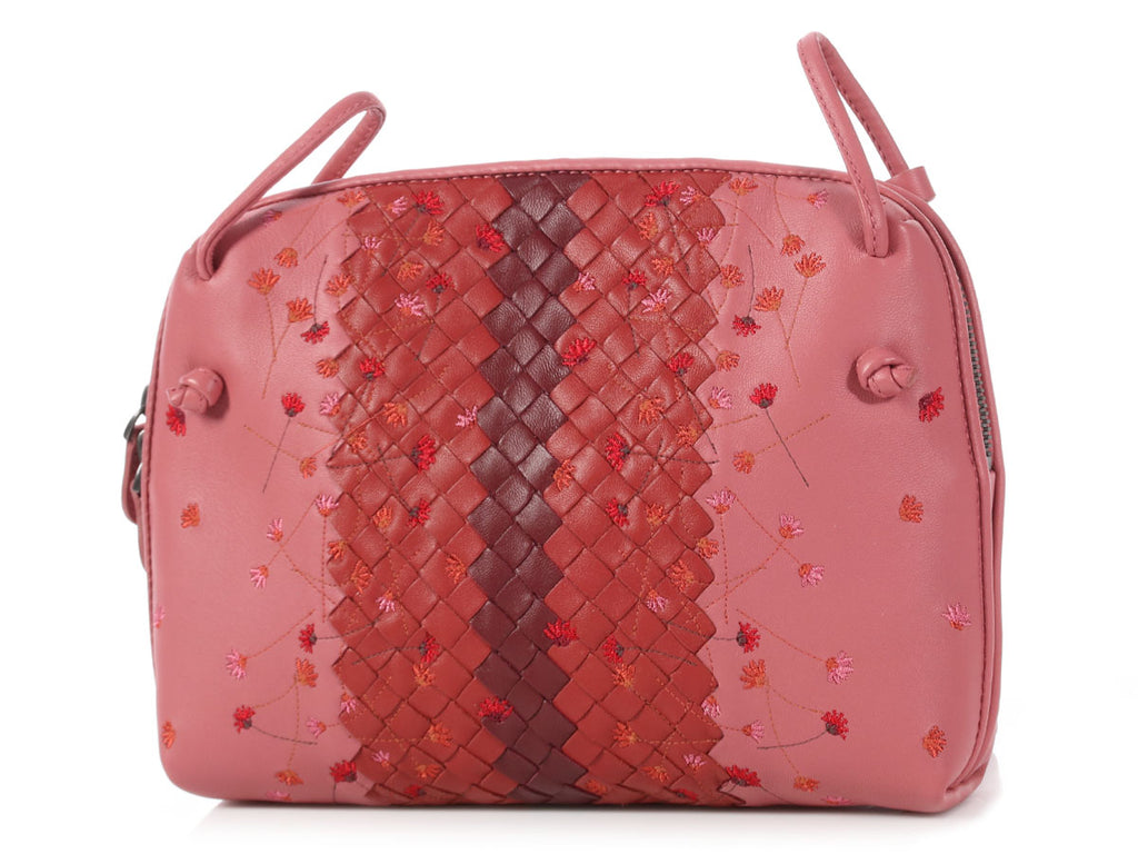 Bottega Veneta Dusty Rose Embroidered Leather Pillow Bag