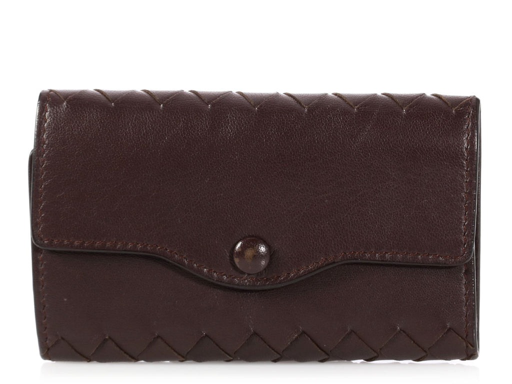 Bottega Veneta Brown Intrecciato Key Case