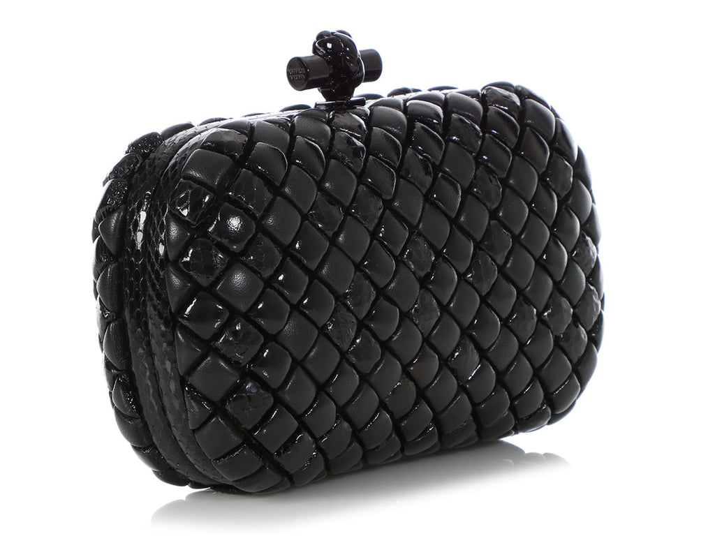 Bottega Veneta Black Leather and Snakeskin Mosaic Knot Clutch