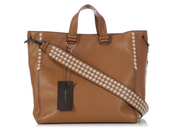 Bottega Veneta Large Camel Calfskin Checker BV Tote