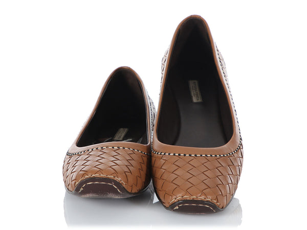 Bottega Veneta Brown Intrecciato Leather Flats