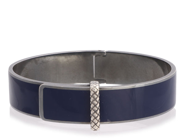 Bottega Veneta Sterling Silver Blue Enamel Atlantic Bangle
