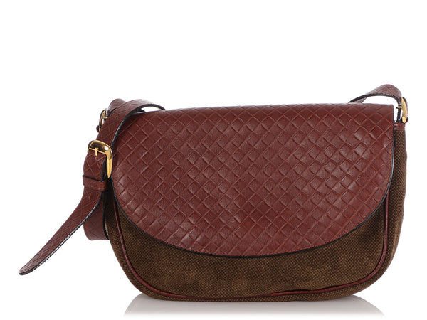 Bottega Veneta Vintage Fabric and Leather Crossbody Bag