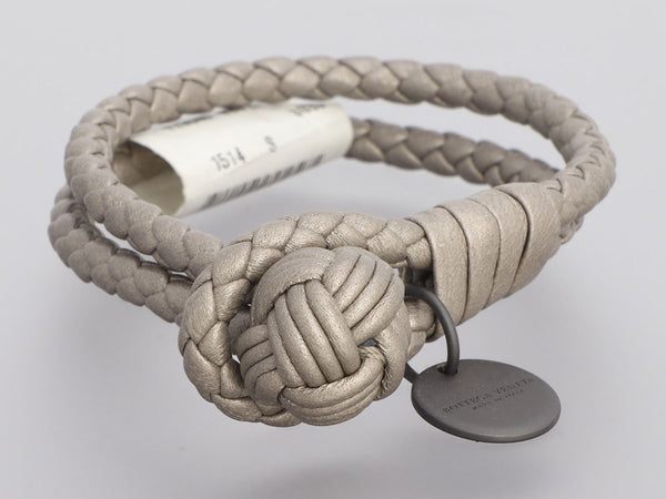 Bottega Veneta Gray Leather Bracelet