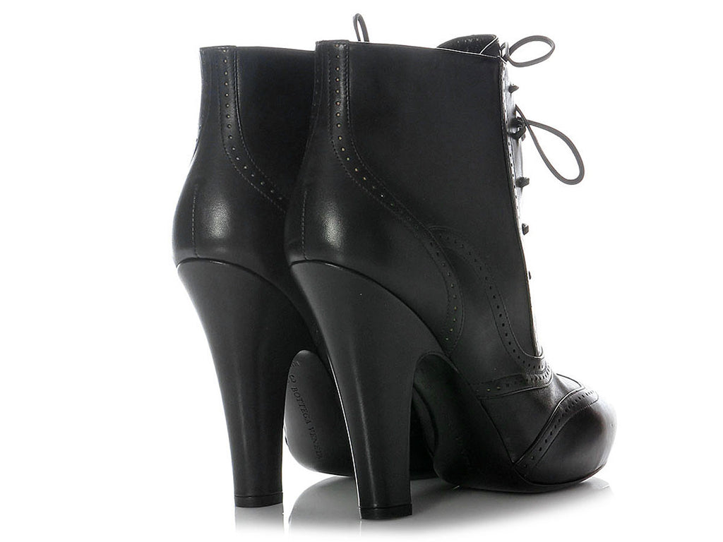 Bottega Veneta Black Lace-Up Booties