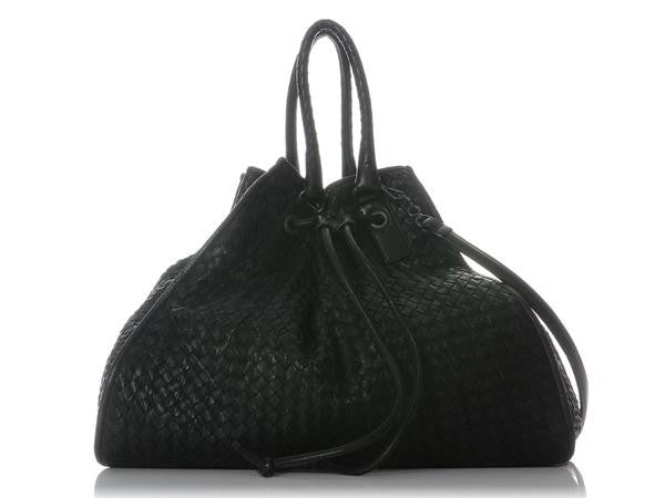 Bottega Veneta Black Woven Drawstring Tote