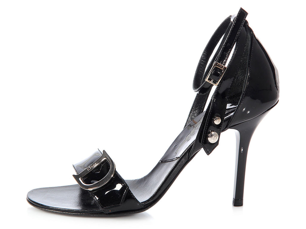 Christian Dior Black Patent Ankle Strap Sandals