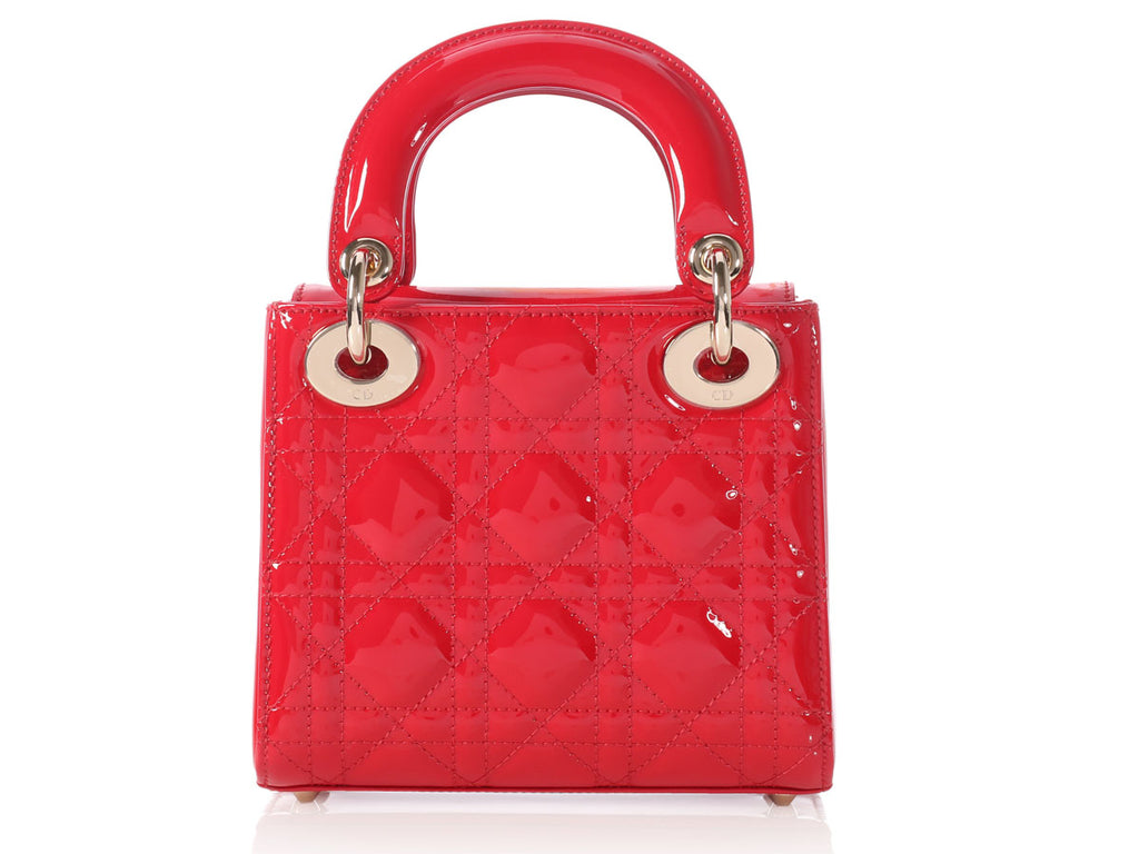 Dior Mini Red Patent Lady Dior Handbag