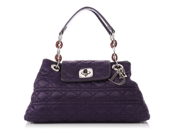 Christian Dior Purple Cannage-Quilted Satin Charming Lock Flap