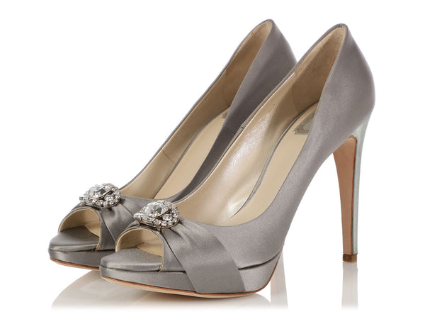 Dior Gray Satin Empire Escarpin Crystal Pumps