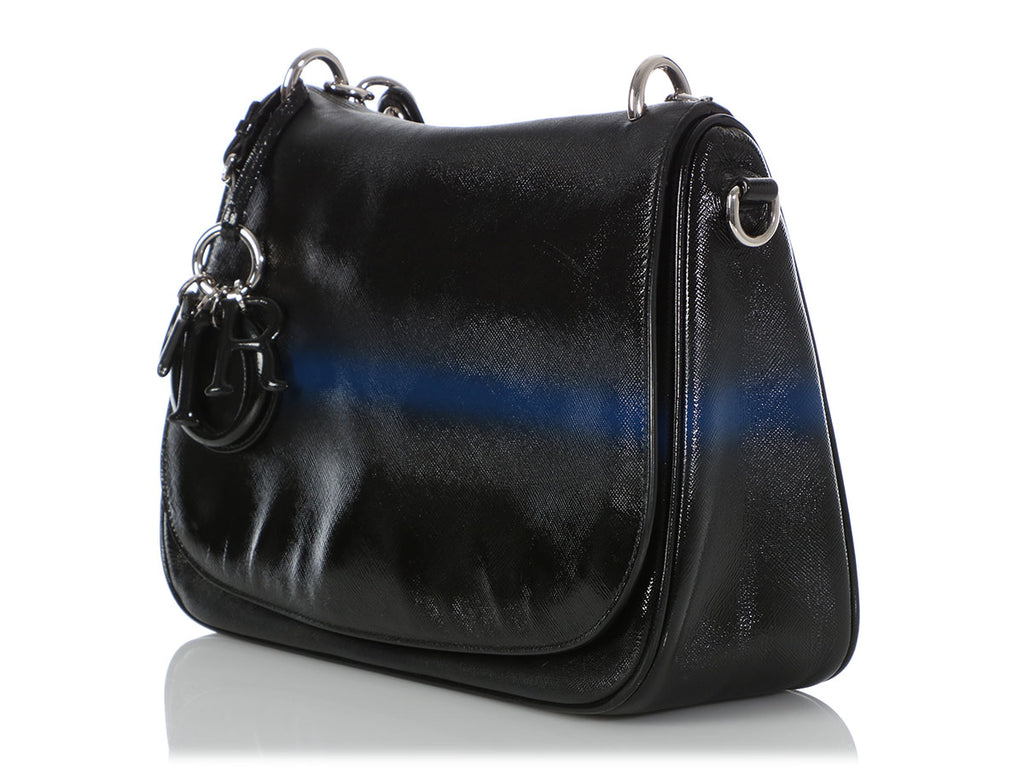 Dior's Black and Blue Grained Leather Dune Bag