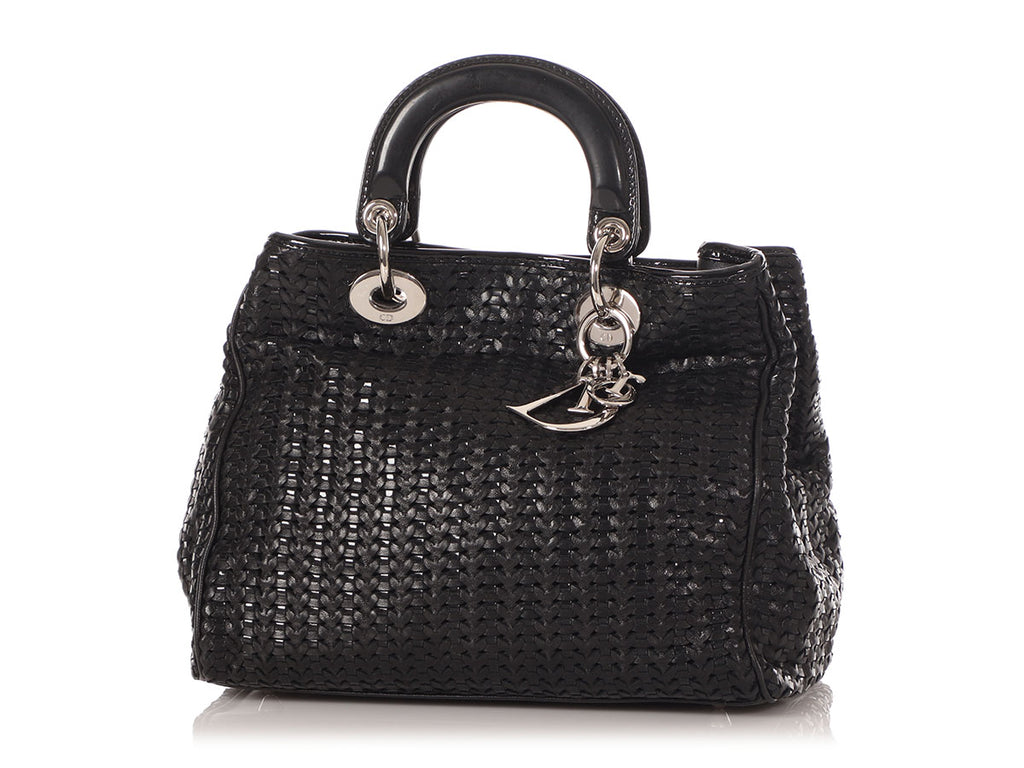Christian Dior Small Black Woven Leather Soft Lady Dior