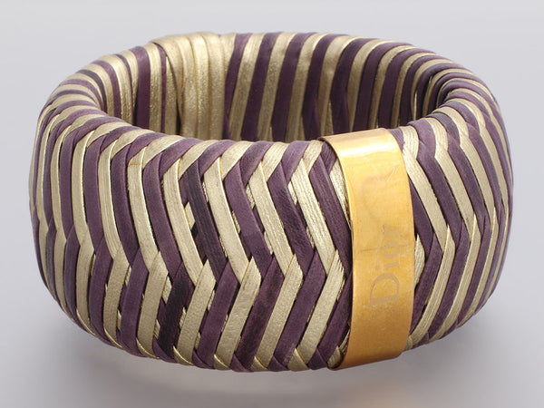 Dior Vintage Wide Gold-Tone Purple and Gold Woven Leather Bangle
