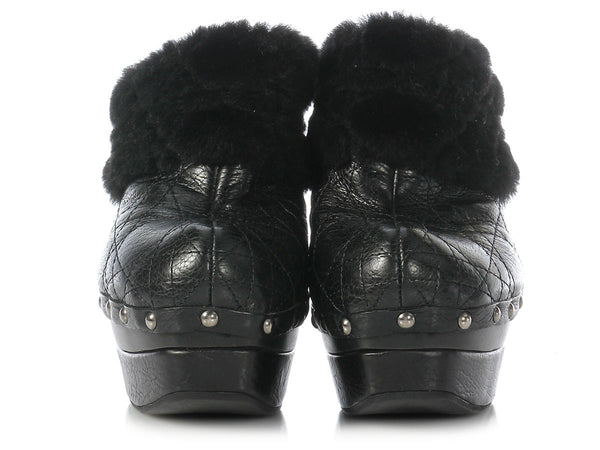 Dior Ice Cannage Quilted Shearling Clog Platforms