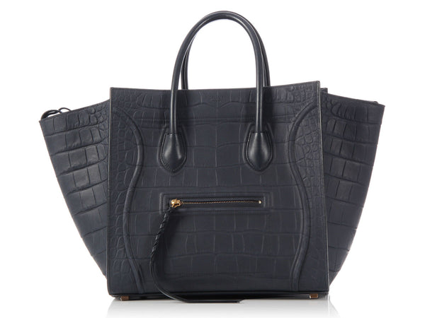 Céline Medium Navy Croc-Embossed Phantom