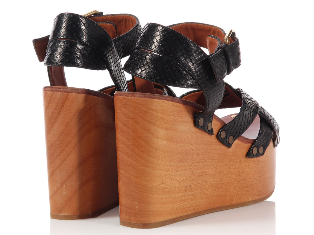 Céline Wooden Platform Wedges