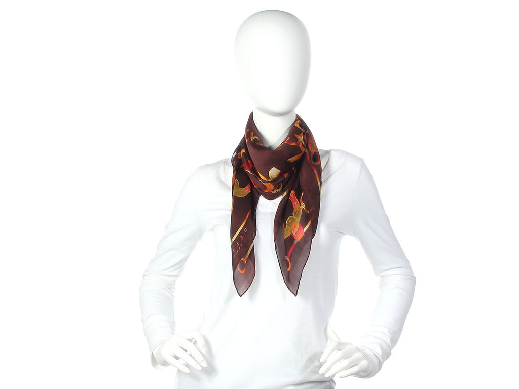 Céline Brown Chain Silk Scarf