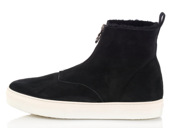 Céline Black Zip Shearling Ankle Boots