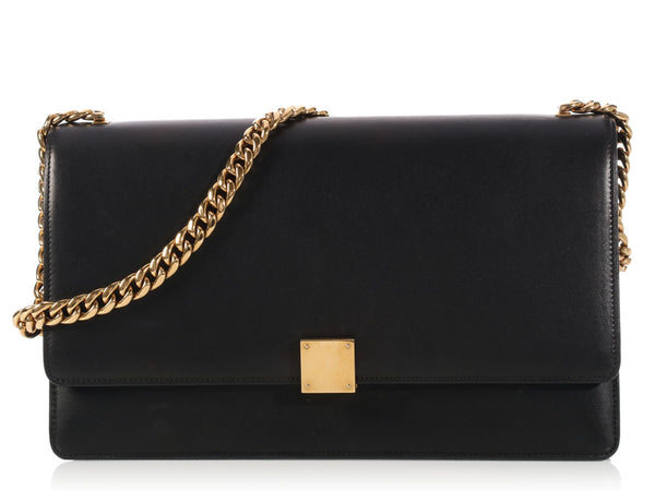 Céline Medium Black Case Chain Flap