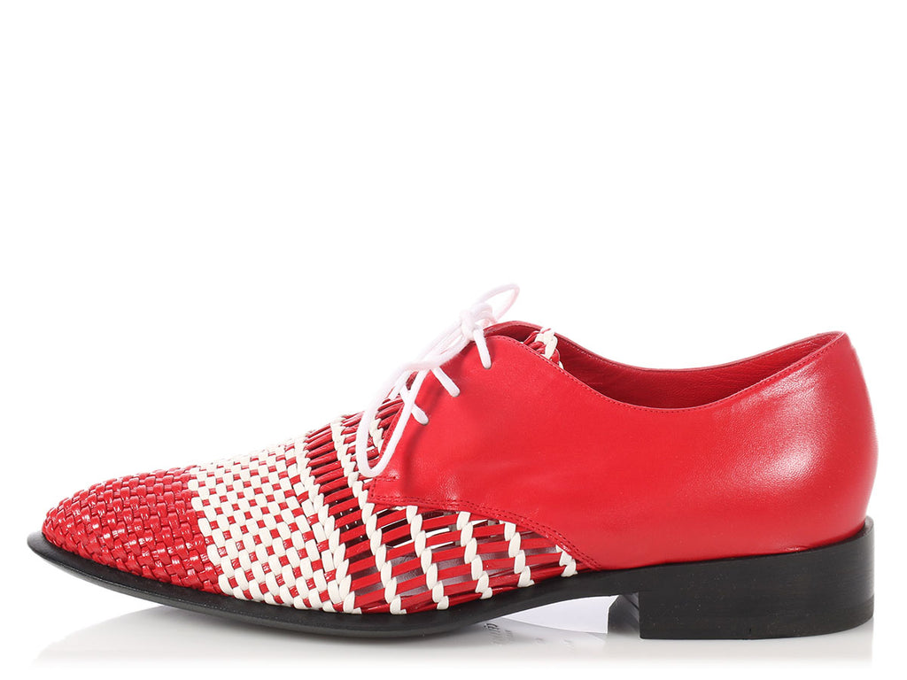 Céline Red and White Woven English Brogues