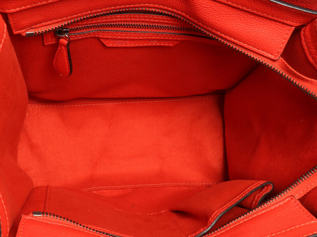 Céline Red Grained Leather Micro Luggage