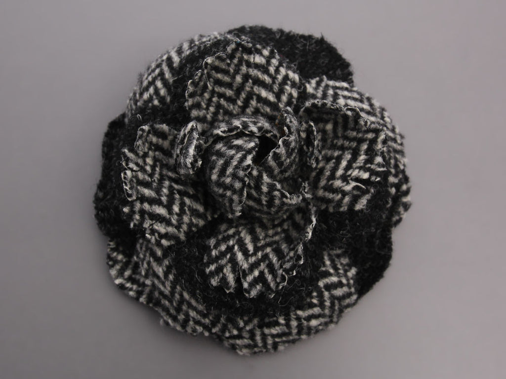 Chanel Black and White Camellia Pin