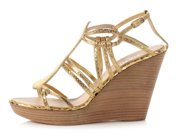 Chanel Gold Python Wedge Sandals