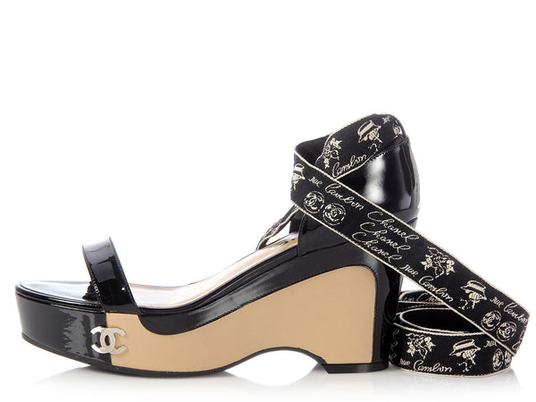 Chanel Black and Tan Ribbon Wedges