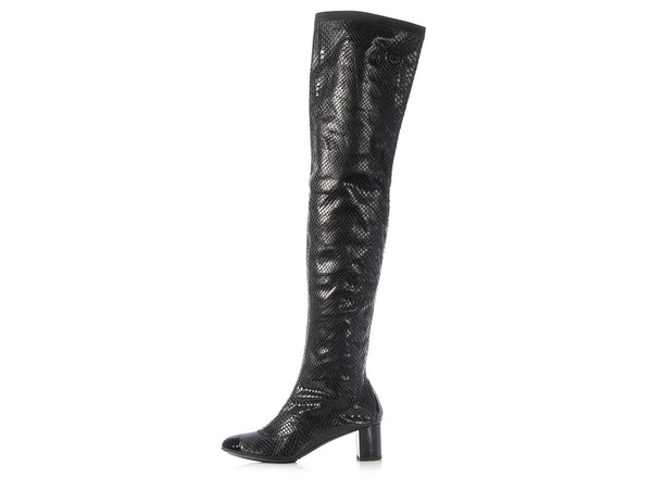 Chanel Black Snakeskin Over The Knee Boots