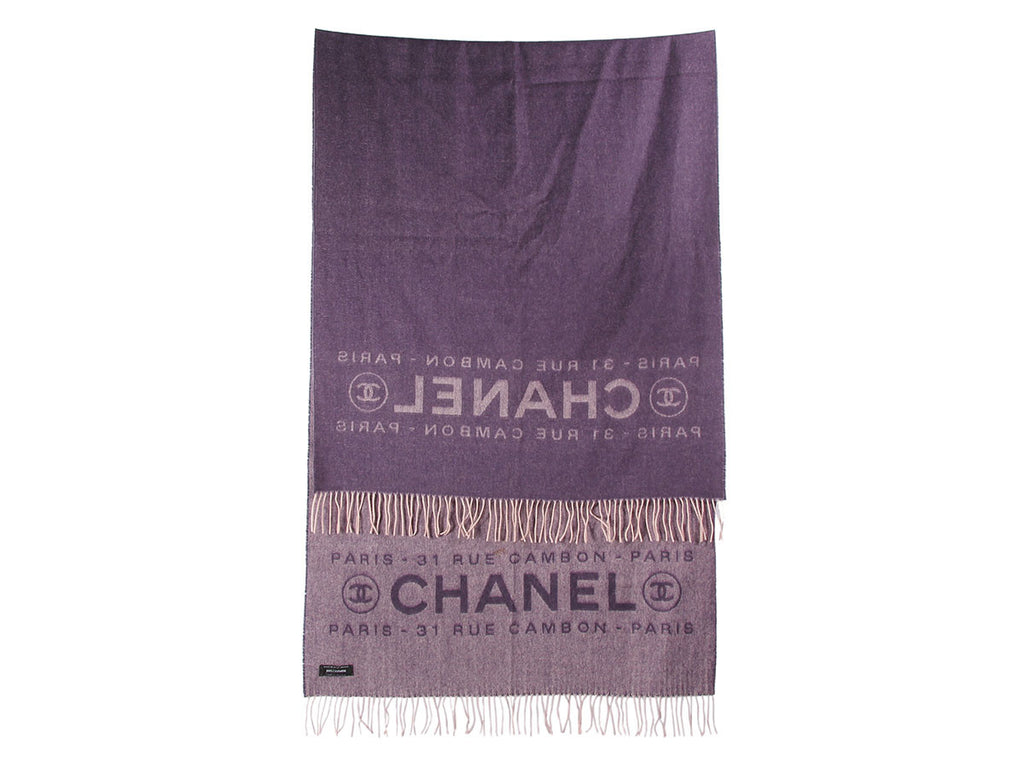 Chanel Purple and Pink Reversible Logo Shawl