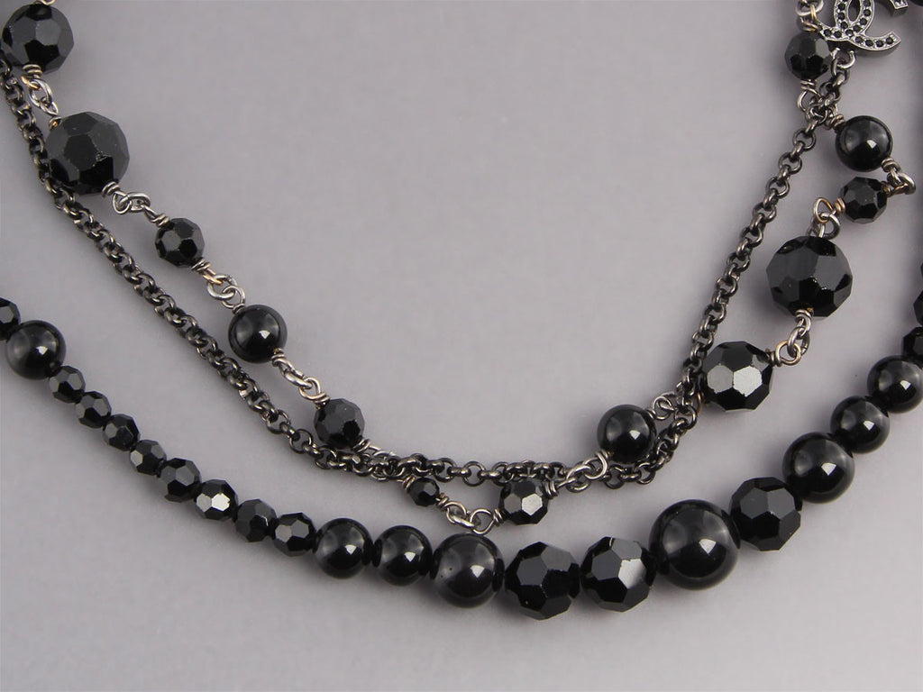 Chanel Long Black Beaded Necklace