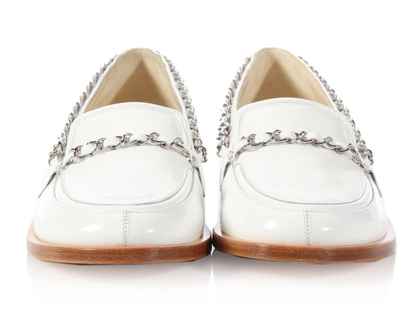 Chanel White Chain Loafers