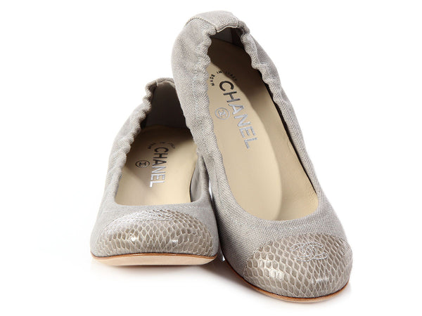 Chanel Gray Toile and Snakeskin Cap Toe Flats