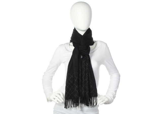 Chanel Black Cashmere Chain Quilted Scarf