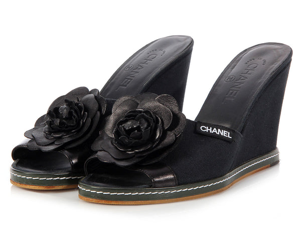 Chanel Black Camellia Wedges