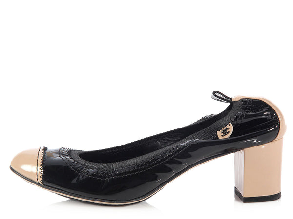 Chanel Black and Beige Patent Cap Toe Ballerina Pumps