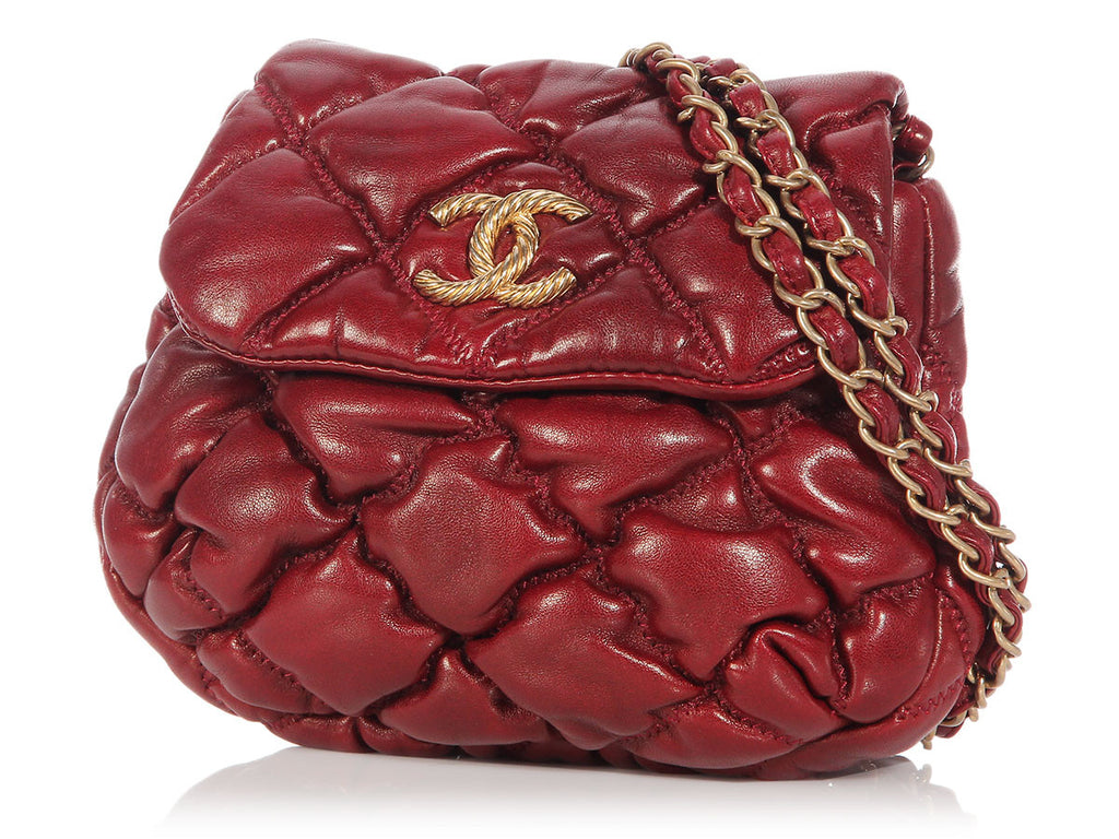 Chanel Small Burgundy Bubble Quilted Crossbody