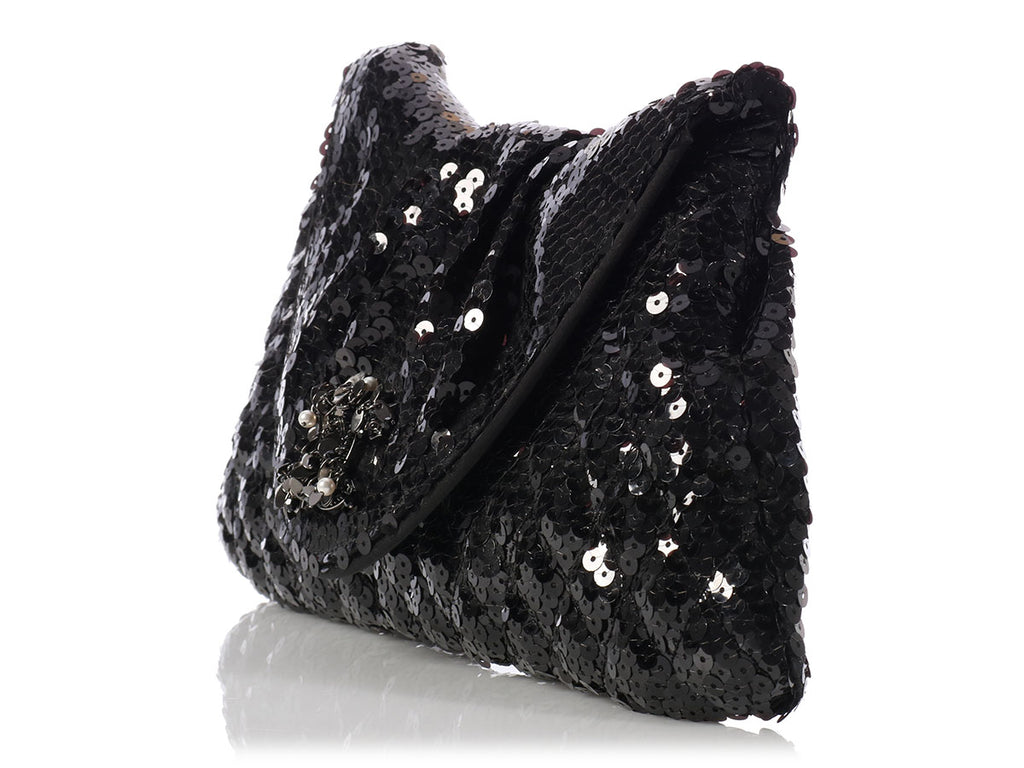 Chanel Black Sequin Clutch