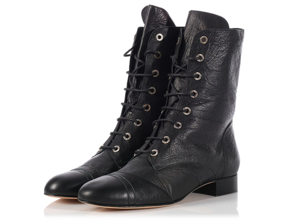 Chanel Black Leather Military Boots