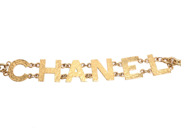 Chanel Hammered Gold Letter Logo Belt