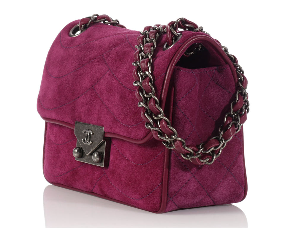 Chanel Purple Suede and Leather Flap