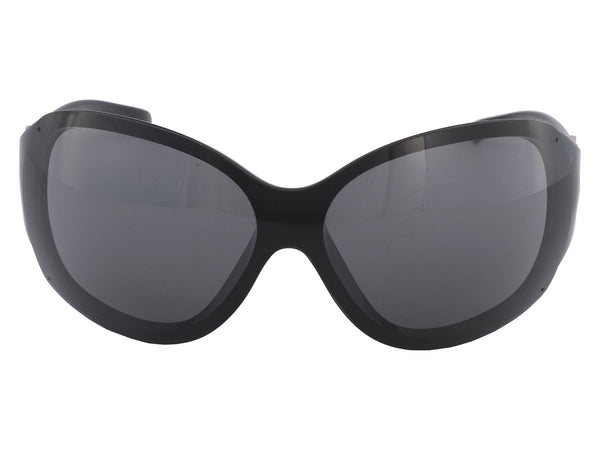 Chanel Black Camellia Shield Sunglasses