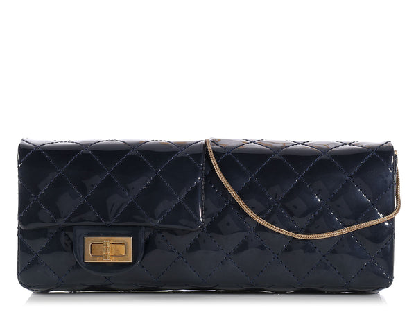Chanel Double-Faced Navy Patent Reissue Clutch