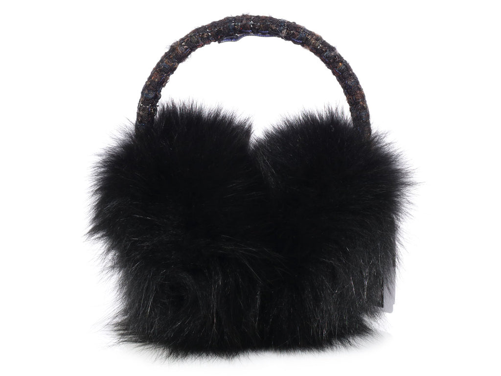 Chanel Black Fur Ear Muffs