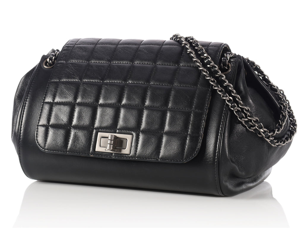 Chanel Black Lambskin Chocolate Bar Reissue Accordion Bag