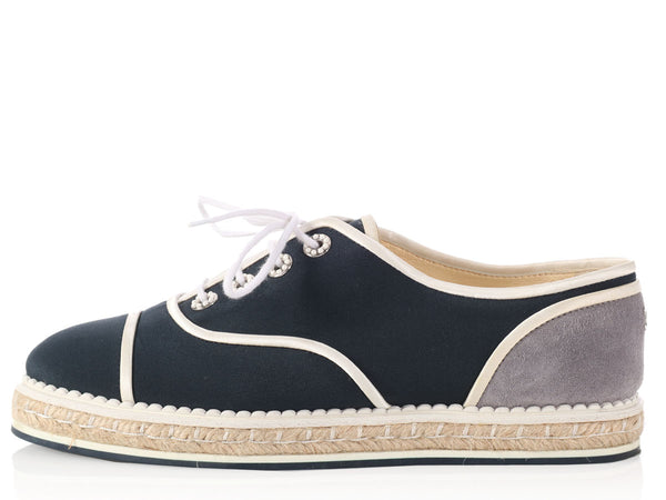Chanel Navy Pearl Eyelet Espadrille Sneakers