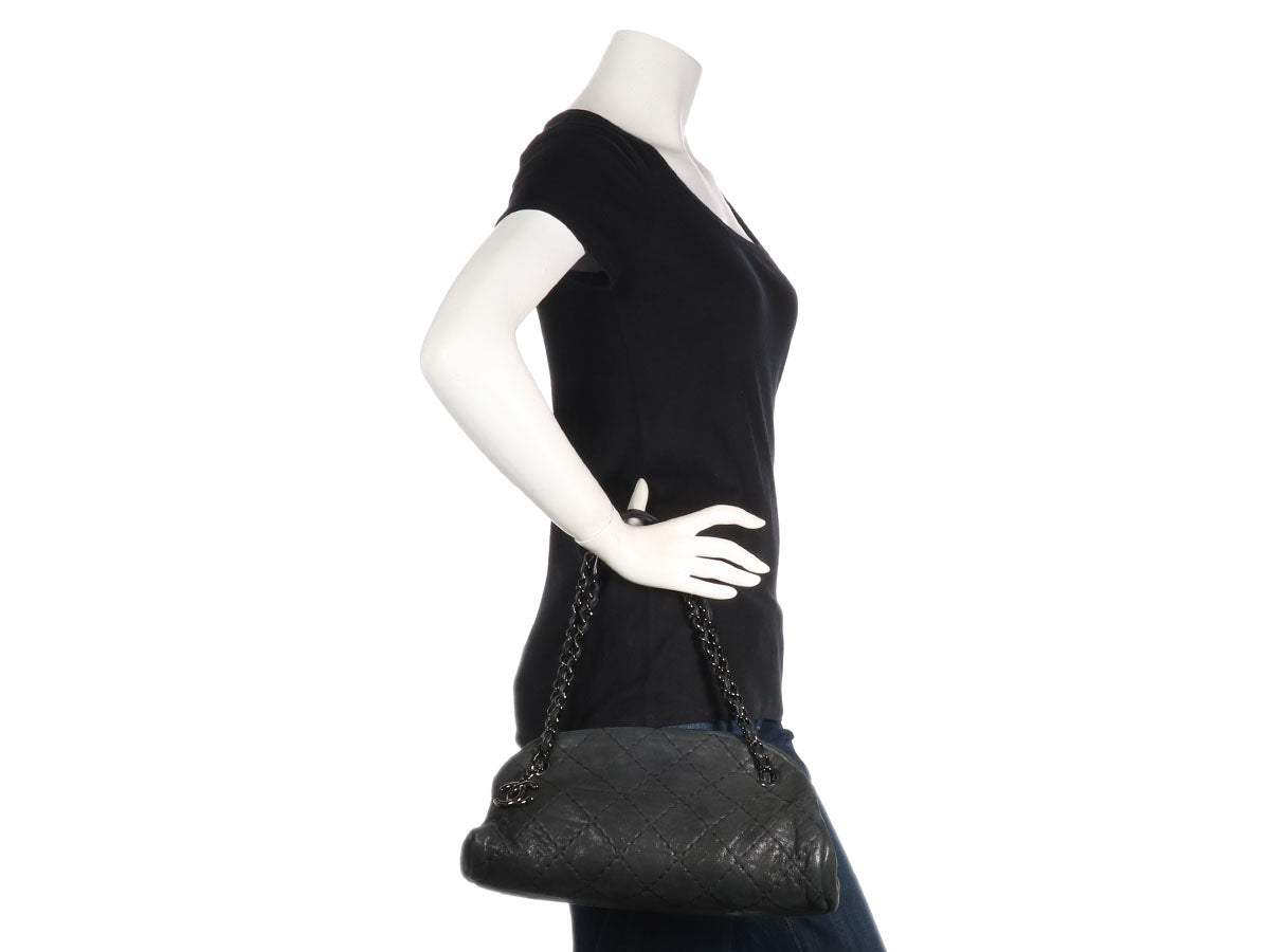 57e30eb5ab67 Chanel Medium Black Mademoiselle Bowling Bag - Ann s Fabulous Closeouts