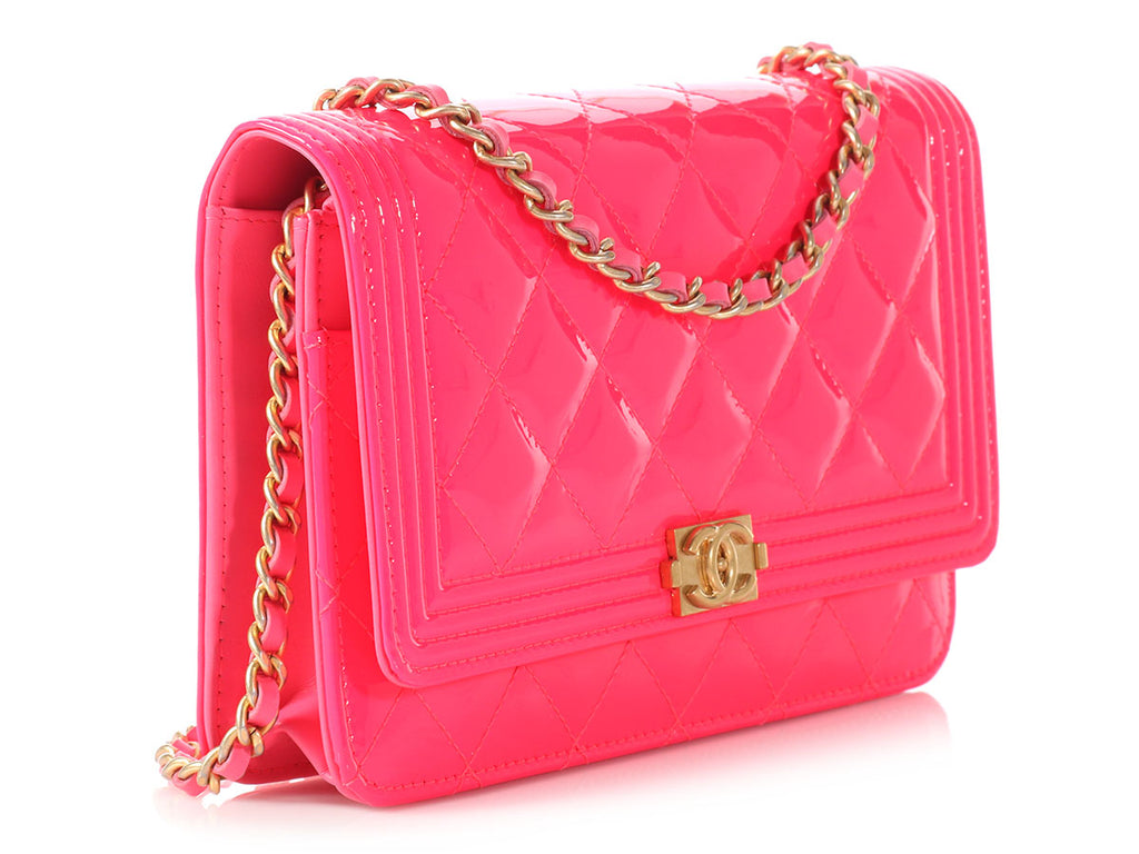 Chanel Neon Pink Boy Wallet on a Chain WOC