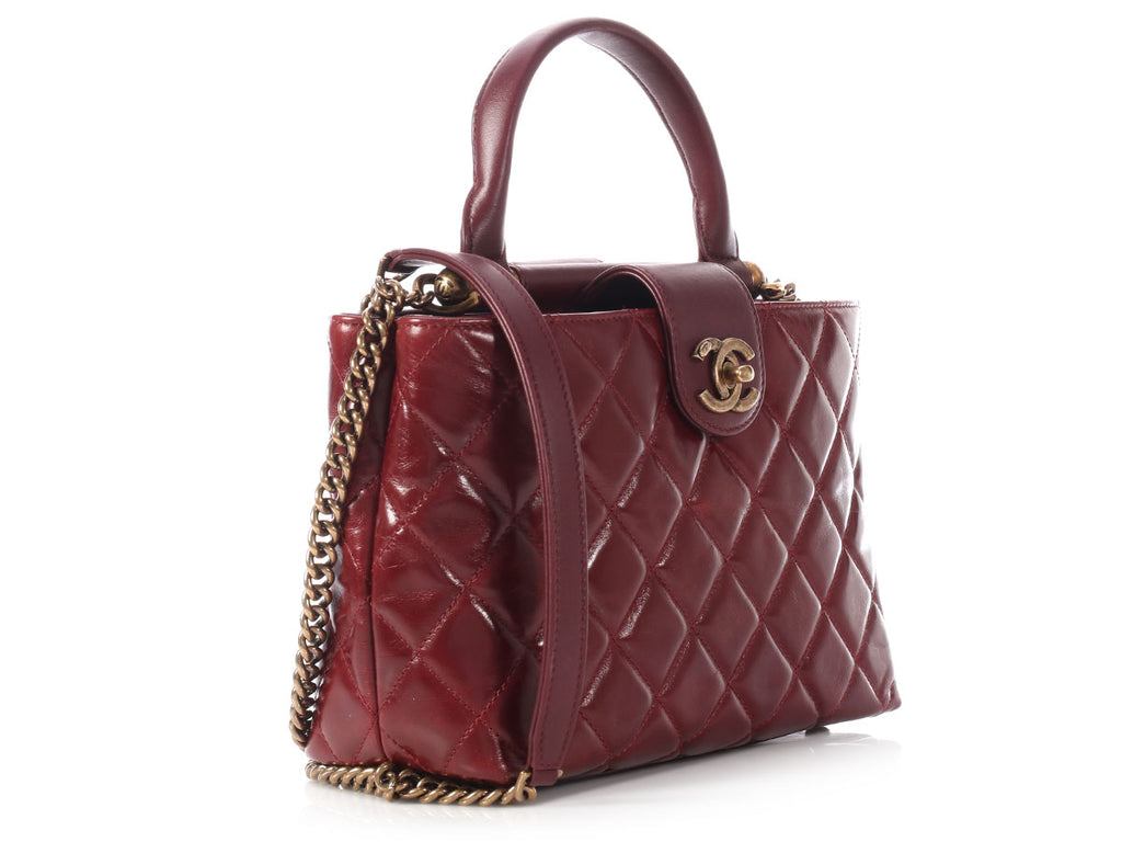 Chanel Small Burgundy Tote