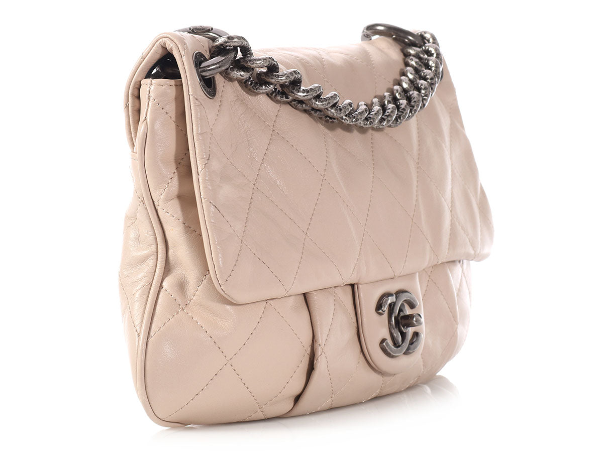 c7149317d2ec6 Chanel Small Beige Coco Pleats Flap Bag - Ann s Fabulous Closeouts